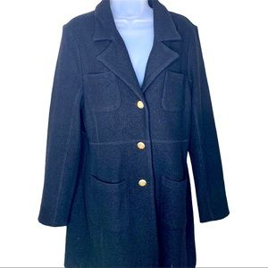 DKNY Trench Over Coat Black Gold Buttons Wool 12